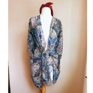 Arizona Jeans Paisley Boho Kimono Coverup